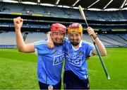 9 September 2018; Emer Keenan, left, and Laoise Quinn of Dublin celebrate following the Liberty Insurance All-Ireland Premier Junior Camogie Championship Final match between Dublin and Kerry at Croke Park in Dublin. Photo by David Fitzgerald/Sportsfile
