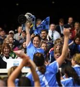 9 September 2018; Dublin captain Emer Keenan lifts the Kathleen Mills cup following the Liberty Insurance All-Ireland Premier Junior Camogie Championship Final match between Dublin and Kerry at Croke Park in Dublin. Photo by David Fitzgerald/Sportsfile
