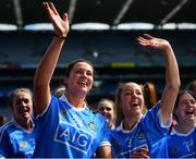 9 September 2018; Laura Walsh, left, and Emma Barron of Dublin wave to supporters following the Liberty Insurance All-Ireland Premier Junior Camogie Championship Final match between Dublin and Kerry at Croke Park in Dublin. Photo by David Fitzgerald/Sportsfile