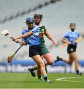 9 September 2018; Caragh Dawson of Dublin in action against Laura Collins of Kerry during the Liberty Insurance All-Ireland Premier Junior Camogie Championship Final match between Dublin and Kerry at Croke Park in Dublin. Photo by David Fitzgerald/Sportsfile
