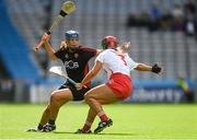 9 September 2018; Fionnuala Carr of Down in action against Sarah Harrington of Cork during the Liberty Insurance All-Ireland Intermediate Camogie Championship Final match between Cork and Down at Croke Park in Dublin. Photo by Piaras Ó Mídheach/Sportsfile
