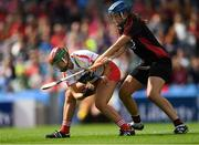 9 September 2018; Sarah Harrington of Cork in action against Fionnuala Carr of Down during the Liberty Insurance All-Ireland Intermediate Camogie Championship Final match between Cork and Down at Croke Park in Dublin. Photo by Piaras Ó Mídheach/Sportsfile