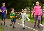 9 September 2018; parkrun Ireland in partnership with Vhi, expanded their range of junior events to 17 with the introduction of the Shelbourne Park junior parkrun on Sunday morning. Junior parkruns are 2km long and cater for 4 to 14-year olds, free of charge providing a fun and safe environment for children to enjoy exercise. Pictured are participants Sophie Duggan, aged 12, from Corbally, Ryan McDaid, aged 5, from Tralee, Max You from Raheen and Roanna O'Sullivan from Tralee, Co. Kerry, during the junior parkrun at Shelbourne Park in Limerick. Photo by Diarmuid Greene/Sportsfile