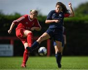 9 September 2018; Louise Kearney of TEK United in action against Claire Nevin of Lakewood Athletic during the FAI Women's Intermediate Shield Final match between TEK United and Lakewood Athletic at Newhill Park in Two Mile Borris, Tipperary. Photo by Harry Murphy/Sportsfile