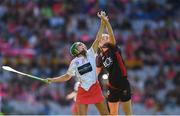9 September 2018; Caroline Sugrue of Cork in action against Catherine Rocks of Down during the Liberty Insurance All-Ireland Intermediate Camogie Championship Final match between Cork and Down at Croke Park in Dublin. Photo by Piaras Ó Mídheach/Sportsfile