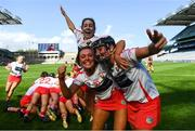 9 September 2018; Katelyn Hickey, right, Saoirse McCarthy, centre, and Katie Barry of Cork celebrate following the Liberty Insurance All-Ireland Intermediate Camogie Championship Final match between Cork and Down at Croke Park in Dublin. Photo by David Fitzgerald/Sportsfile