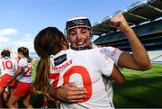 9 September 2018; Katelyn Hickey, right, and Katie Barry of Cork celebrate following the Liberty Insurance All-Ireland Intermediate Camogie Championship Final match between Cork and Down at Croke Park in Dublin. Photo by David Fitzgerald/Sportsfile