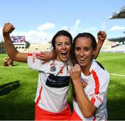 9 September 2018; Maeve McCarthy, left, and Leah Weste of Cork celebrate following the Liberty Insurance All-Ireland Intermediate Camogie Championship Final match between Cork and Down at Croke Park in Dublin. Photo by David Fitzgerald/Sportsfile