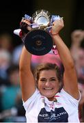 9 September 2018; Cork captain Sarah Harrington lifts the Jack McGrath cup after the Liberty Insurance All-Ireland Intermediate Camogie Championship Final match between Cork and Down at Croke Park in Dublin. Photo by Piaras Ó Mídheach/Sportsfile