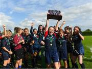 9 September 2018; Ali Brady of Lakewood Athletic lifts the shield after the FAI Women's Intermediate Shield Final match between TEK United and Lakewood Athletic at Newhill Park in Two Mile Borris, Tipperary.  Photo by Harry Murphy/Sportsfile