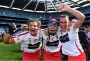 9 September 2018; Cork players, from left, Sarah Harrington, Niamh Ní Chaoimh and Sarah Buckley celebrate after the Liberty Insurance All-Ireland Intermediate Camogie Championship Final match between Cork and Down at Croke Park in Dublin. Photo by Piaras Ó Mídheach/Sportsfile