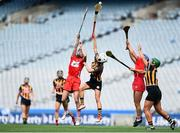 9 September 2018; Katrina Mackey, left, and Lauren Homan of Cork in action against Davina Tobin, left, and Katie Power of Kilkenny during the Liberty Insurance All-Ireland Senior Camogie Championship Final match between Cork and Kilkenny at Croke Park in Dublin. Photo by David Fitzgerald/Sportsfile