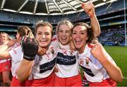 9 September 2018; Cork players, from left, Sarah Harrington, Kate Wall, and Katie Barry celebrate after the Liberty Insurance All-Ireland Intermediate Camogie Championship Final match between Cork and Down at Croke Park in Dublin. Photo by Piaras Ó Mídheach/Sportsfile