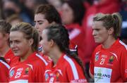 9 September 2018; Briege Corkery of Cork looks on with the other substitutes before the Liberty Insurance All-Ireland Senior Camogie Championship Final match between Cork and Kilkenny at Croke Park in Dublin. Photo by Piaras Ó Mídheach/Sportsfile