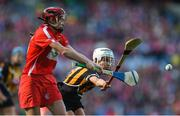9 September 2018; Katrina Mackey of Cork in action against Davina Tobin of Kilkenny during the Liberty Insurance All-Ireland Senior Camogie Championship Final match between Cork and Kilkenny at Croke Park in Dublin. Photo by David Fitzgerald/Sportsfile