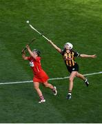 9 September 2018; Linda Collins of Cork in action against Catherine Foley of Kilkenny during the Liberty Insurance All-Ireland Senior Camogie Championship Final match between Cork and Kilkenny at Croke Park in Dublin. Photo by David Fitzgerald/Sportsfile