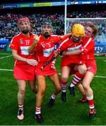 9 September 2018; Cork players, from left, Leanne O'Sullivan, Laura Treacy, Aoife Murray and Hannah Looney celebrate following the Liberty Insurance All-Ireland Senior Camogie Championship Final match between Cork and Kilkenny at Croke Park in Dublin. Photo by David Fitzgerald/Sportsfile