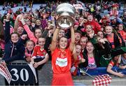 9 September 2018; Lauren Homan of Cork celebrates with supporters following the Liberty Insurance All-Ireland Senior Camogie Championship Final match between Cork and Kilkenny at Croke Park in Dublin. Photo by David Fitzgerald/Sportsfile