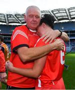 9 September 2018; Cork goalkeeping coach Teddy O'Donovan embraces Gemma O'Connor following the Liberty Insurance All-Ireland Senior Camogie Championship Final match between Cork and Kilkenny at Croke Park in Dublin. Photo by David Fitzgerald/Sportsfile