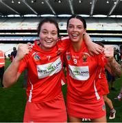 9 September 2018; Chloe Sigerson, left, and Ashling Thompson of Cork celebrate following the Liberty Insurance All-Ireland Senior Camogie Championship Final match between Cork and Kilkenny at Croke Park in Dublin. Photo by David Fitzgerald/Sportsfile