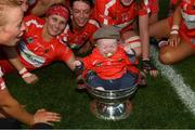 9 September 2018; Tadhg Scannell, age five months, son of Cork player Briege Corkery in the O'Duffy Cup after the Liberty Insurance All-Ireland Senior Camogie Championship Final match between Cork and Kilkenny at Croke Park in Dublin. Photo by Piaras Ó Mídheach/Sportsfile