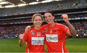 9 September 2018; Cork players Saoirse McCarthy, left, and Ashling Thompson celebrate after the Liberty Insurance All-Ireland Senior Camogie Championship Final match between Cork and Kilkenny at Croke Park in Dublin. Photo by Piaras Ó Mídheach/Sportsfile