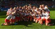 9 September 2018; Cork captain Sarah Harrington and her team mates celebrate with the Jack McGrath Cup after the Liberty Insurance All-Ireland Intermediate Camogie Championship Final match between Cork and Down at Croke Park in Dublin. Photo by Piaras Ó Mídheach/Sportsfile