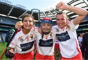 9 September 2018; Cork players, from left, Sarah Harrington, Niamh Ní Chaoimh, and Sarah Buckley celebrate after the Liberty Insurance All-Ireland Intermediate Camogie Championship Final match between Cork and Down at Croke Park in Dublin. Photo by Piaras Ó Mídheach/Sportsfile