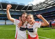 9 September 2018; Cork players Finola Neville, left, and Laura Hayes celebrate after the Liberty Insurance All-Ireland Intermediate Camogie Championship Final match between Cork and Down at Croke Park in Dublin. Photo by Piaras Ó Mídheach/Sportsfile