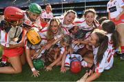 9 September 2018; Cork players celebrate after the Liberty Insurance All-Ireland Intermediate Camogie Championship Final match between Cork and Down at Croke Park in Dublin. Photo by Piaras Ó Mídheach/Sportsfile
