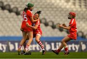 9 September 2018; Cork players, from left, Hannah Looney, Gemma O'Connor, and Libby Coppinger celebrate after the Liberty Insurance All-Ireland Senior Camogie Championship Final match between Cork and Kilkenny at Croke Park in Dublin. Photo by Piaras Ó Mídheach/Sportsfile