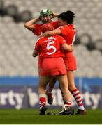 9 September 2018; Cork players, from left, Hannah Looney, Libby Coppinger, 5, and Gemma O'Connor, celebrate after the Liberty Insurance All-Ireland Senior Camogie Championship Final match between Cork and Kilkenny at Croke Park in Dublin. Photo by Piaras Ó Mídheach/Sportsfile