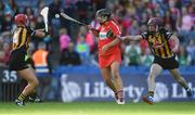 9 September 2018; Linda Collins of Cork in action against Grace Walsh, left, and Anne Dalton of Kilkenny during the Liberty Insurance All-Ireland Senior Camogie Championship Final match between Cork and Kilkenny at Croke Park in Dublin. Photo by Piaras Ó Mídheach/Sportsfile