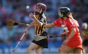 9 September 2018; Anne Dalton of Kilkenny in action against Linda Collins and Orla Cronin, behind, of Cork during the Liberty Insurance All-Ireland Senior Camogie Championship Final match between Cork and Kilkenny at Croke Park in Dublin. Photo by Piaras Ó Mídheach/Sportsfile
