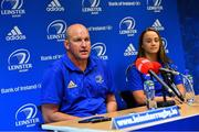 10 September 2018; Head coach Ben Armstrong and Michelle Claffey during a Leinster Rugby press conference at Leinster Rugby Headquarters in Dublin. Photo by Ramsey Cardy/Sportsfile