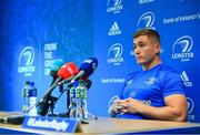 10 September 2018; Jordan Larmour during a Leinster Rugby press conference at Leinster Rugby Headquarters in Dublin. Photo by Ramsey Cardy/Sportsfile