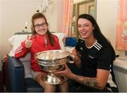 10 September 2018; Erin Keogh, age 12, from Athy, Kildare, with Cork camogie player Aishling Thompson during the All-Ireland Senior Camogie Champions visit to Our Lady's Children's Hospital in Crumlin, Dublin. Photo by Eóin Noonan/Sportsfile