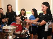 10 September 2018; Jack Cashman, age 15, from Mitchelstown, Cork, with Cork camogie player Aishling Thompson during the All-Ireland Senior Camogie Champions visit to Our Lady's Children's Hospital in Crumlin, Dublin. Photo by Eóin Noonan/Sportsfile