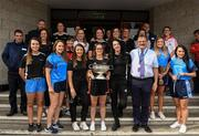 10 September 2018; Cork camogie team with members of An Garda Síochána and hospital staff during the All-Ireland Senior Camogie Champions visit to Our Lady's Children's Hospital in Crumlin, Dublin. Photo by Eóin Noonan/Sportsfile