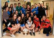10 September 2018; Cork camogie players with hospital staff during the All-Ireland Senior Camogie Champions visit to Our Lady's Children's Hospital in Crumlin, Dublin. Photo by Eóin Noonan/Sportsfile