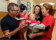 10 September 2018; Cork camogie player Aishling Thompson with the Buckley family, from left, Niall, Barra, age 2, Rua, age 8 months, and Mairead during the All-Ireland Senior Camogie Champions visit to Our Lady's Children's Hospital in Crumlin, Dublin. Photo by Eóin Noonan/Sportsfile