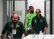 10 September 2018; Republic of Ireland manager Martin O'Neill and David Meyler, behind, arrive for a Republic of Ireland press conference at Municipal Stadium in Wroclaw, Poland. Photo by Stephen McCarthy/Sportsfile