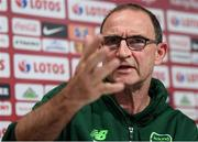 10 September 2018; Republic of Ireland manager Martin O'Neill during a press conference at Municipal Stadium in Wroclaw, Poland. Photo by Stephen McCarthy/Sportsfile