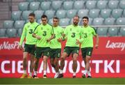 10 September 2018; Players, from left, Aiden O'Brien, Shaun Williams, Graham Burke, David Meyler and Enda Stevens during a Republic of Ireland training session at Municipal Stadium in Wroclaw, Poland. Photo by Stephen McCarthy/Sportsfile