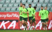 10 September 2018; Players, from left, Richard Keogh, Callum O'Dowda, Cyrus Christie, John Egan, Matt Doherty and Ronan Curtis during a Republic of Ireland training session at Municipal Stadium in Wroclaw, Poland. Photo by Stephen McCarthy/Sportsfile