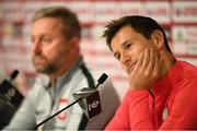 10 September 2018; Grzegorz Krychowiak and Poland manager Jerzy Brzeczek, left, during a Poland press conference at Municipal Stadium in Wroclaw, Poland. Photo by Stephen McCarthy/Sportsfile