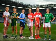 11 September 2018; In attendance at a photocall ahead of the TG4 All-Ireland Junior, Intermediate and Senior Ladies Football Championship Finals on Sunday next, are Junior, Intermediate and Senior finalists, from left, Neamh Woods of Tyrone, Niamh O'Sullivan of Meath, Sinead Aherne of Dublin, Ciara O'Sullivan of Cork, Kate Flood of Louth and Cathy Mee of Limerick. TG4 All-Ireland Ladies Football Championship Finals Captains Day at Croke Park, in Dublin. Photo by Eóin Noonan/Sportsfile