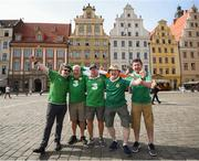 11 September 2018; Republic of Ireland supporters, from left, Paul Coffey, Peter Dowling, Dave O'Connell, Phil Brennan and Alan Gallagher ahead of the International Friendly match between Poland and Republic of Ireland at the Stadion Miejski in Wroclaw, Poland. Photo by Stephen McCarthy/Sportsfile