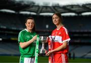 11 September 2018; In attendance at a photocall ahead of the TG4 All-Ireland Junior, Intermediate and Senior Ladies Football Championship Finals on Sunday next, are Junior finalists, captain Cathy Mee of Limerick, left, and captain Kate Flood of Louth. TG4 All-Ireland Ladies Football Championship Finals Captains Day at Croke Park in Dublin. Photo by Eóin Noonan/Sportsfile