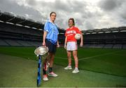 11 September 2018; In attendance at a photocall ahead of the TG4 All-Ireland Junior, Intermediate and Senior Ladies Football Championship Finals on Sunday next, are Senior finalists, captain Sinead Aherne of Dublin, left, and captain Ciara O'Sullivan of Cork. TG4 All-Ireland Ladies Football Championship Finals Captains Day at Croke Park, in Dublin. Photo by Eóin Noonan/Sportsfile